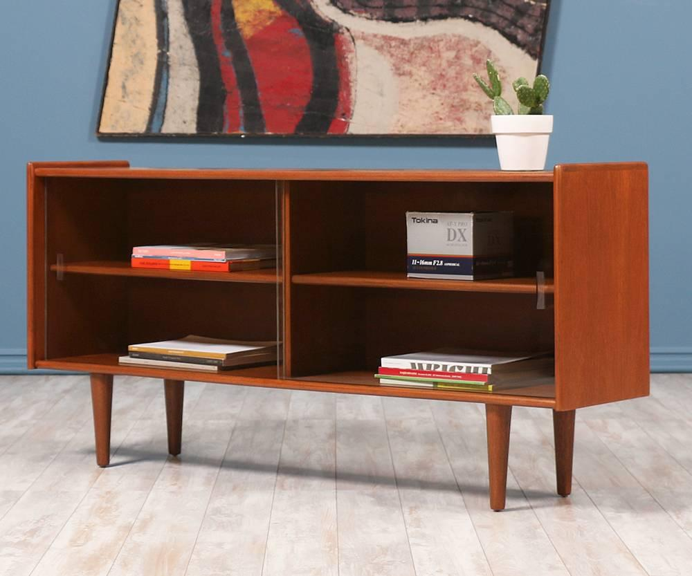 Danish Modern Low Profile Teak Bookcase At 1stdibs