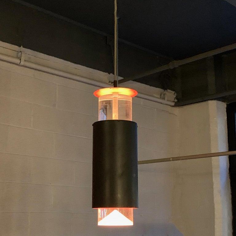 Scandinavian Modern Danish Modern Lucite and Aluminum Cylinder Pendant Light by Simon Henningsen For Sale