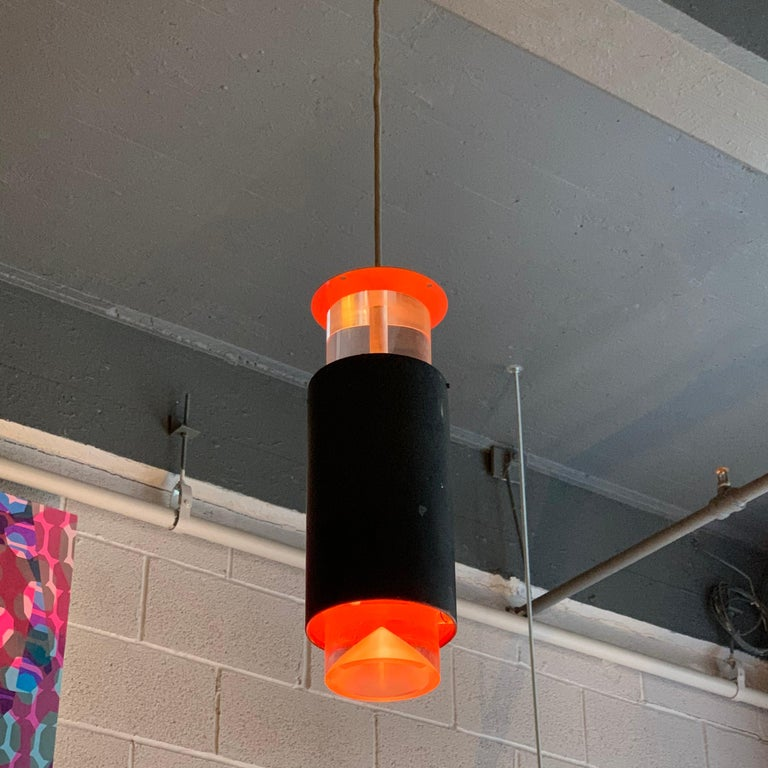 Painted Danish Modern Lucite and Aluminum Cylinder Pendant Light by Simon Henningsen For Sale