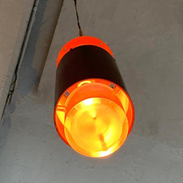 Danish Modern Lucite and Aluminum Cylinder Pendant Light by Simon Henningsen For Sale 1