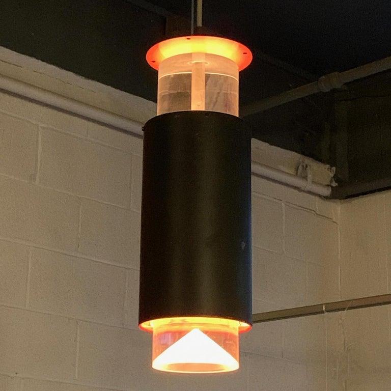 Danish Modern Lucite and Aluminum Cylinder Pendant Light by Simon Henningsen For Sale 2