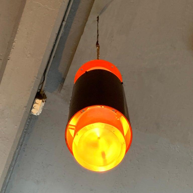 Danish Modern Lucite and Aluminum Cylinder Pendant Light by Simon Henningsen For Sale 3