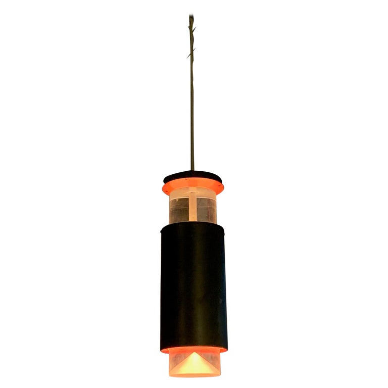 Danish Modern Lucite and Aluminum Cylinder Pendant Light by Simon Henningsen For Sale