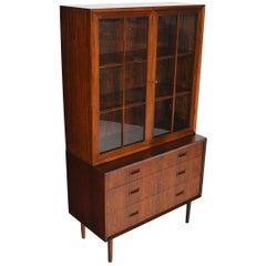 Danish Modern Lyby Rosewood Gentleman's Chest with Hutch #2