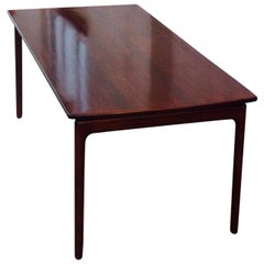 Danish Modern Mahogany Coffee Table with Floating Tabletop by Ole Wanscher 1960s