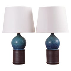 Danish Modern Marianne Starck Pair of Sculptural Turquoise and Brown Table Lamps