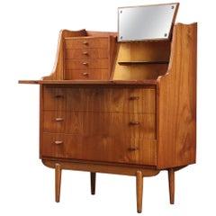 Danish Modern Midcentury Atomic Teak Vanity / Secretary Desk in Teak