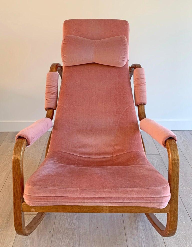 Mid-Century Modern Danish Modern Midcentury Bentwood Rocking Chair in Pink Velvet For Sale
