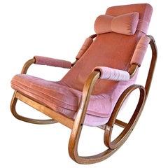 Danish Modern Midcentury Bentwood Rocking Chair in Pink Velvet