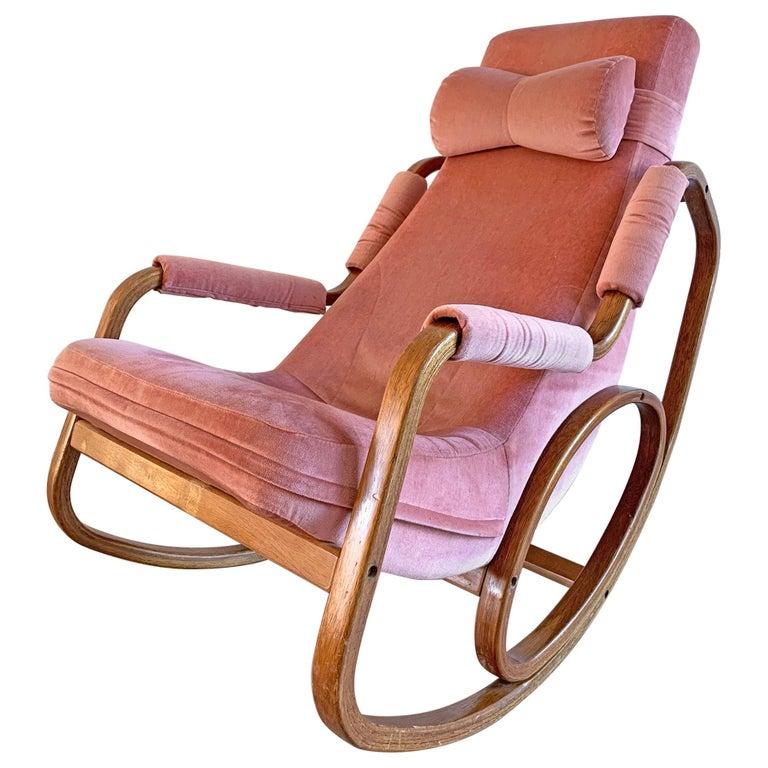 Danish Modern Midcentury Bentwood Rocking Chair in Pink Velvet For Sale