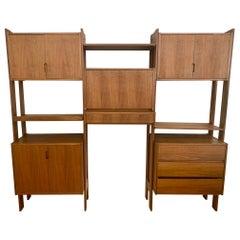 Danish Modern Midcentury Modular Three Bay Bookcase Wall Unit and Desk
