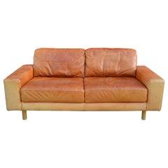 Danish Modern Mid Century Vintage Cognac Leather Sofa
