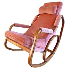 Danish Modern Midcentury Bentwood Rocking Chair in Pink Velvet