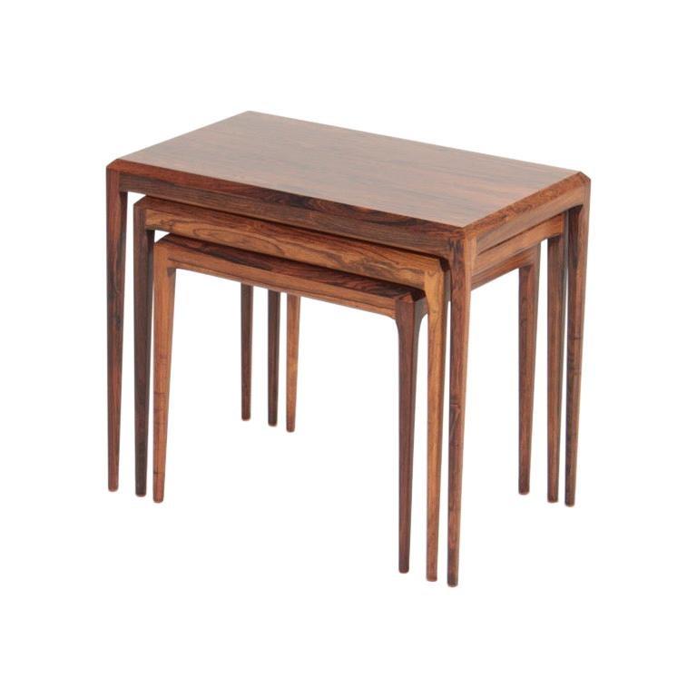 Danish Modern Midcentury Nesting Tables in Rosewood by Johannes Andersen, 1960s