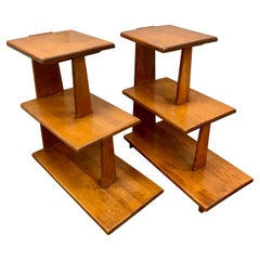 Danish Modern Midcentury Tiered Side Tables Shelves, Pair