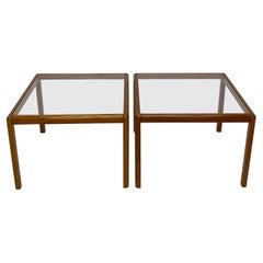 Danish Modern Minimalistic Wood and Glass Side or Coffee Tables, 1970s
