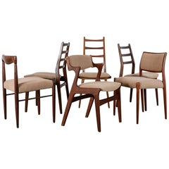 Danish Modern Mixed Dining Chairs, Set of Six