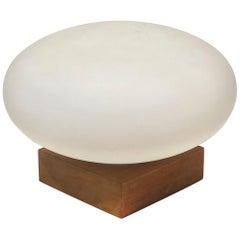 Danish Modern Mushroom Table Lamp Glass on Solid Walnut Base