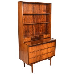 Danish Modern Narrow Rosewood Bookcase Secretary Desk