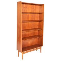 Danish Modern Narrow Teak Bookcase by Nexø