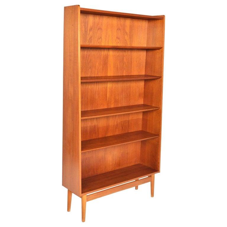 Danish Modern Narrow Teak Bookcase by Nexø For Sale