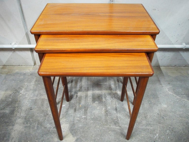 This is a great teak trio from the 1960s from the furniture manufacturer Opal.