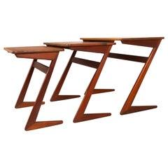 Danish Modern Nesting Teak Tables by Erling Torvits for Heltborg Møbler, 1950s