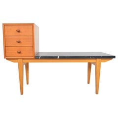 Danish Modern Oak and Marble Telephone Bench