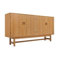 Danish Modern Oak, Brass and Leather Cabinet by Kurt Ostervig