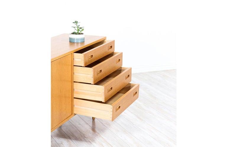 Birch Danish Modern Oak Credenza by Carlo Jensen for Hundevad & Co. For Sale