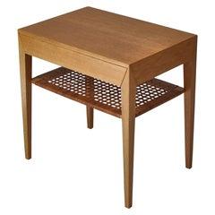 Danish Modern Oak Side Table with Shelf in Rattan Cane by Severin Hansen, 1950s