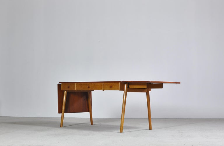 Stunning desk or writing table with drop leaves by Poul Volther for