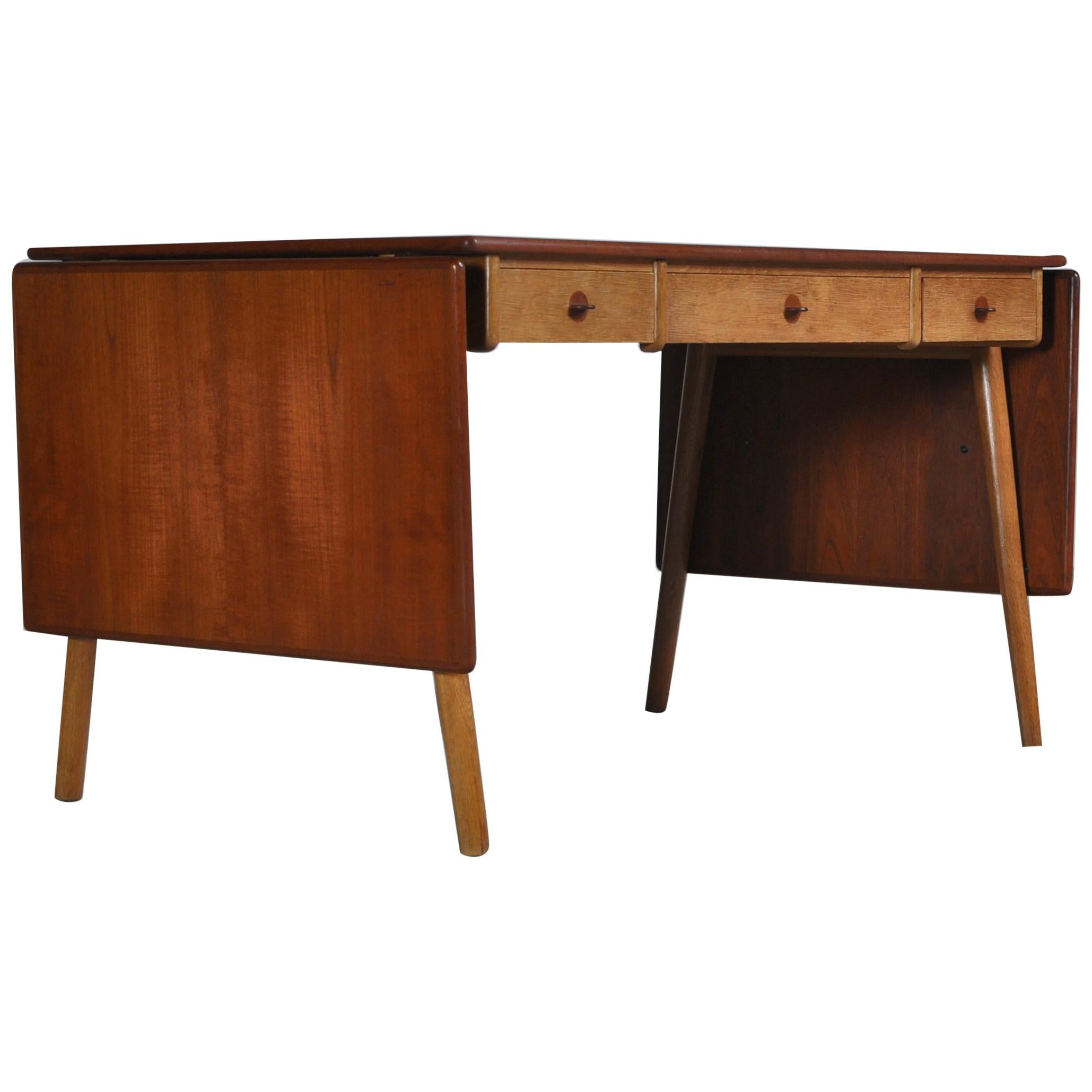 "Danish Modern Oak & Teakwood Desk ""Model 158"" by Poul Volther, 1957"