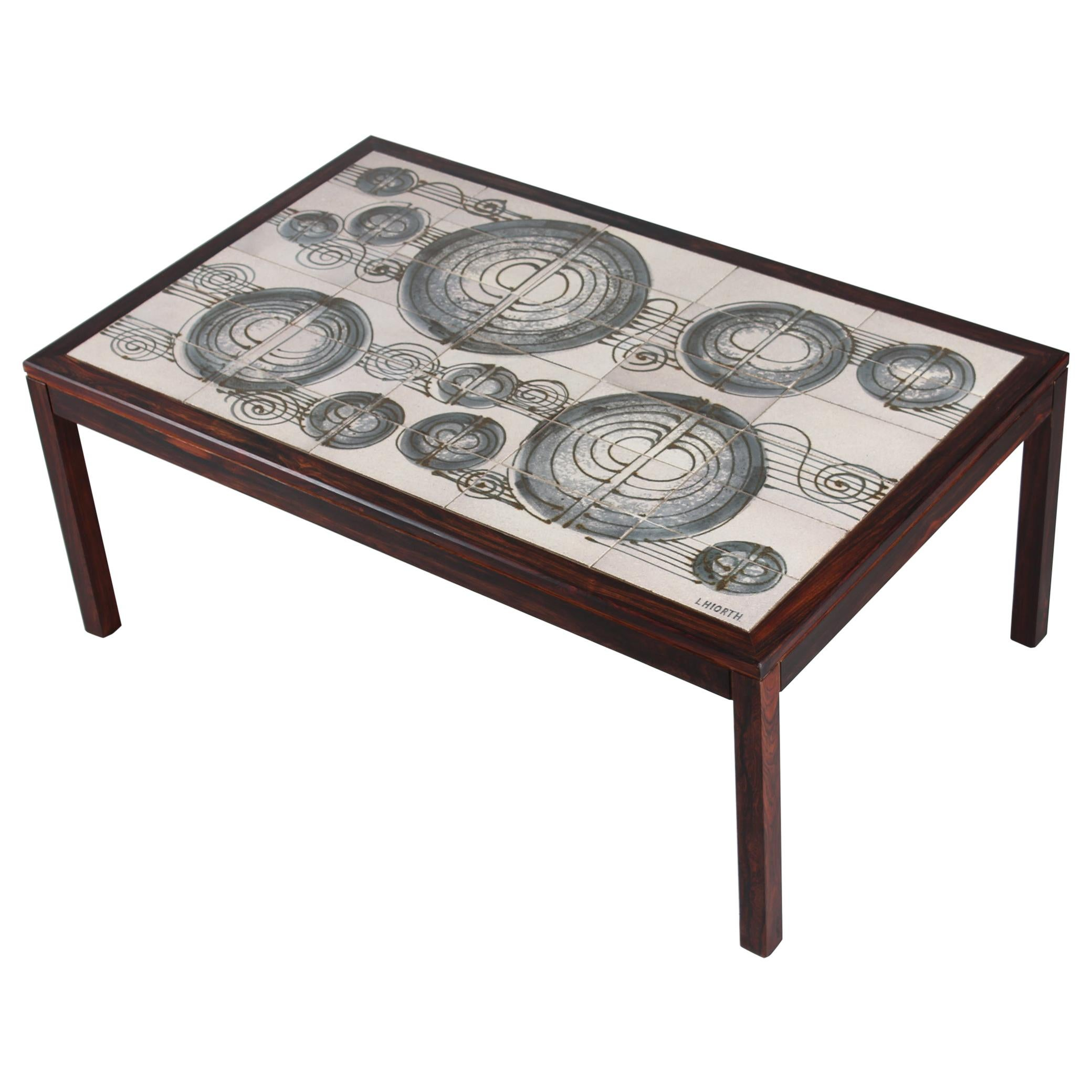 Danish Modern Oblong Wooden Coffee Table with Ceramic Tiles from L. Hjorth 1960s