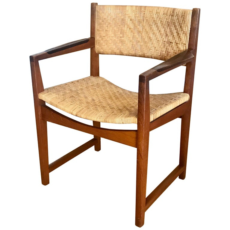Surprising Danish Modern Teak And Cane Occasional Chair Andrewgaddart Wooden Chair Designs For Living Room Andrewgaddartcom