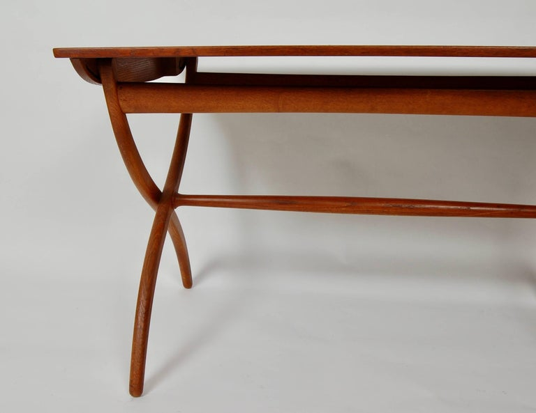 Oiled Danish Modern Ole Wanscher Adjustable Coffee / Dinette Table For Sale