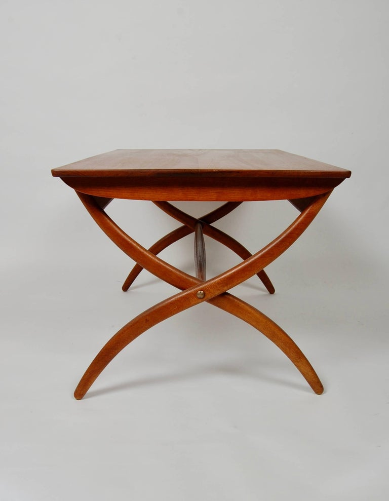 Danish Modern Ole Wanscher Adjustable Coffee / Dinette Table In Excellent Condition For Sale In San Francisco, CA
