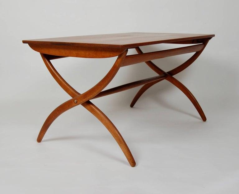 Teak Danish Modern Ole Wanscher Adjustable Coffee / Dinette Table For Sale