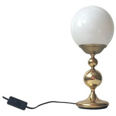 Danish Modern Opaline Glass and Brass Table Lamp by ABO, 1970s