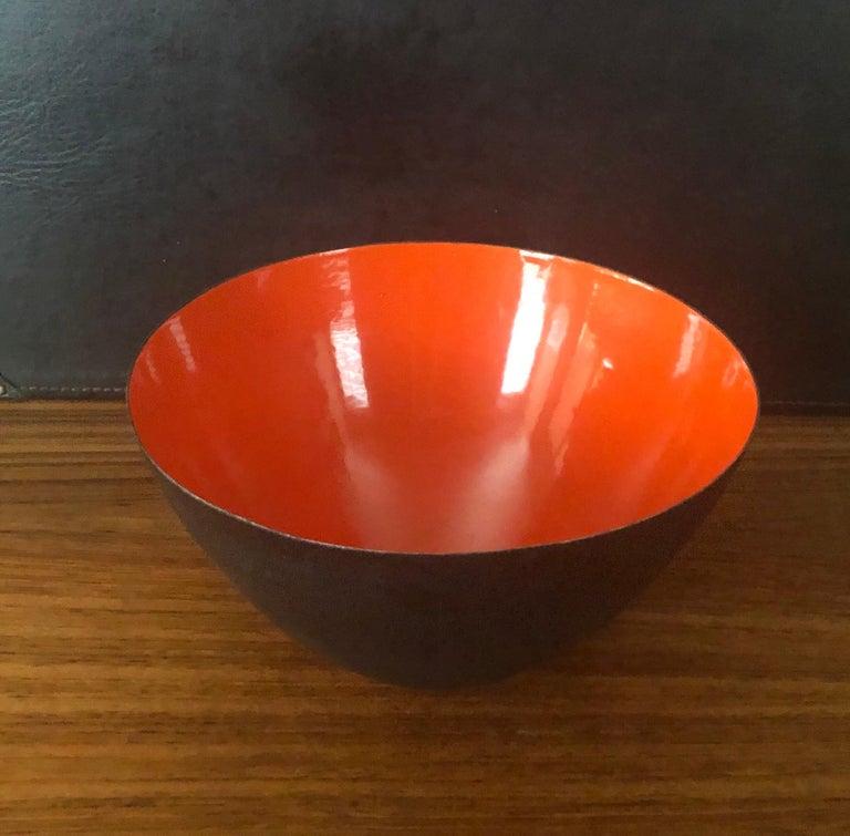 Scandinavian Modern Danish Modern Orange Enamel Krenit Bowl by Herbert Krenchel for Torben Orskov For Sale
