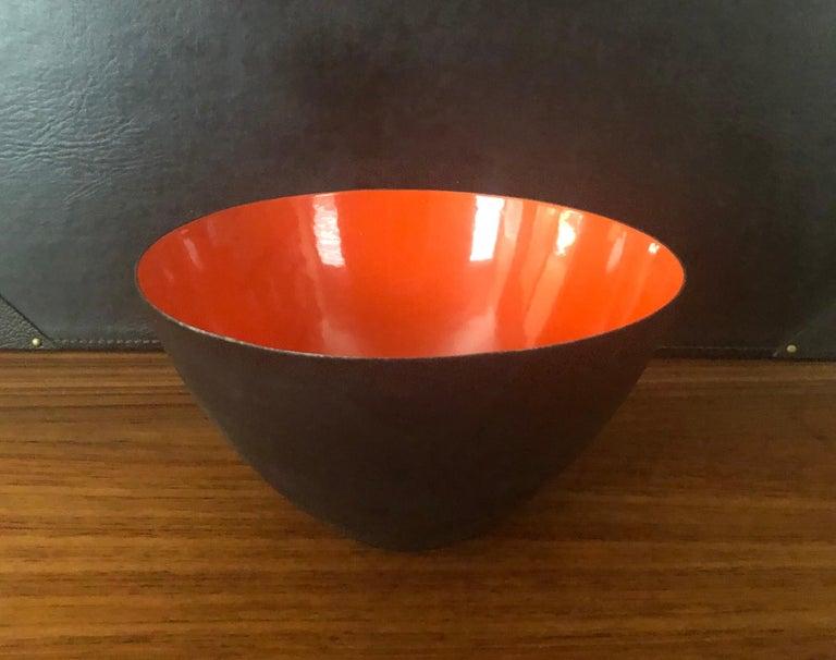 Danish Modern Orange Enamel Krenit Bowl by Herbert Krenchel for Torben Orskov In Good Condition For Sale In San Diego, CA