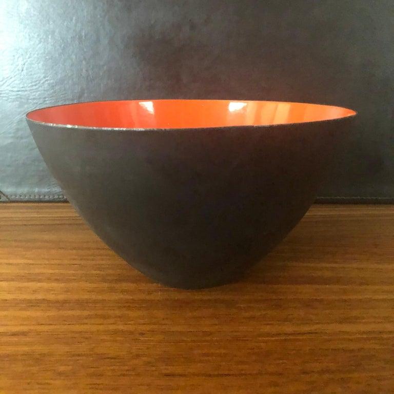20th Century Danish Modern Orange Enamel Krenit Bowl by Herbert Krenchel for Torben Orskov For Sale