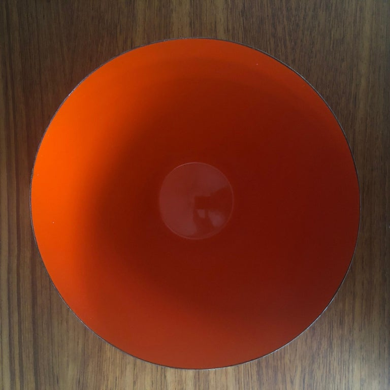 Metal Danish Modern Orange Enamel Krenit Bowl by Herbert Krenchel for Torben Orskov For Sale