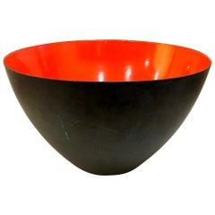 Danish Modern Orange Enamel Krenit Bowl by Herbert Krenchel for Torben Orskov