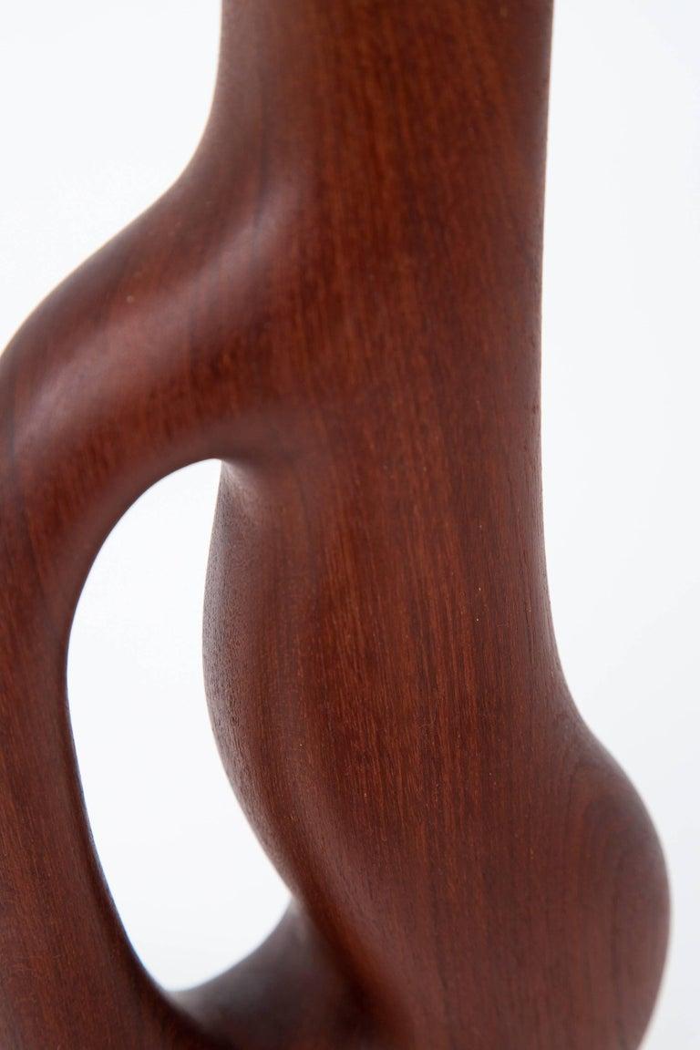 Carved Danish Modern Organic Form Teak Lamps by ESA Denmark For Sale