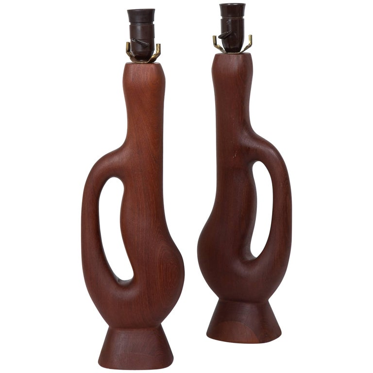 Danish Modern Organic Form Teak Lamps by ESA Denmark For Sale