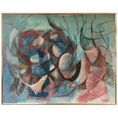 Danish Modern Original Artist Signed Oil Painting Schneider
