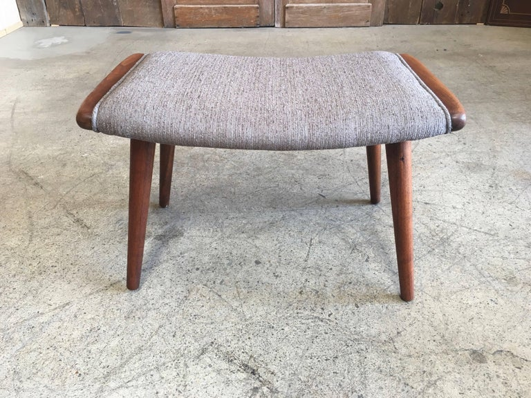 Danish modern teak stool with new foam and fabric.