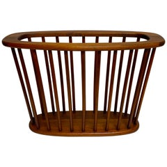 Danish Modern Oval Spindle Teak Magazine Rack