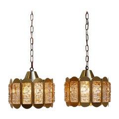 Danish Modern Pair of Brass and Glass Pendants from Vitrika, 1960s Design